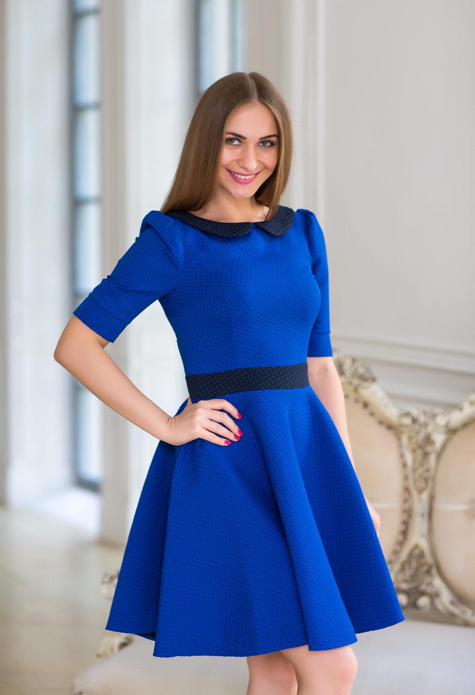 платье синее рукав короткие с черным поясом