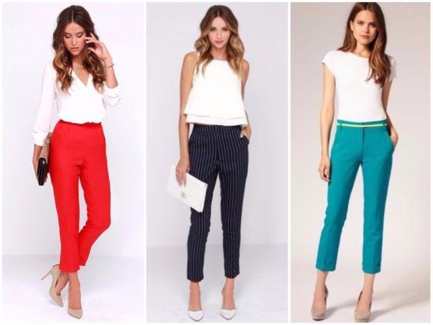 модные тенденции весна лето 2019: укороченные брюки красные синие в полоску бирюзовые под белые блузки