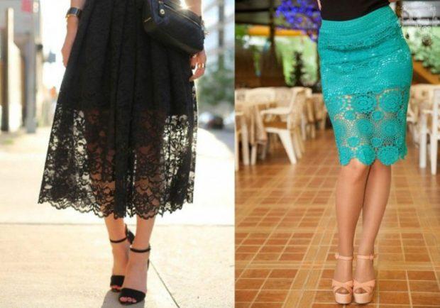 модные тенденции весна лето 2019: черная ажурная юбка бирюзовая
