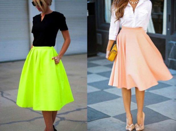 модные тенденции весна лето 2019: юбки-солнце салатовая персиковая