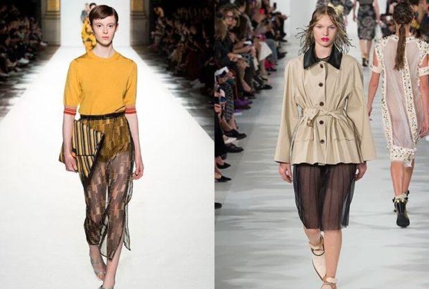модные тенденции весна лето 2019: прозрачные юбки черные