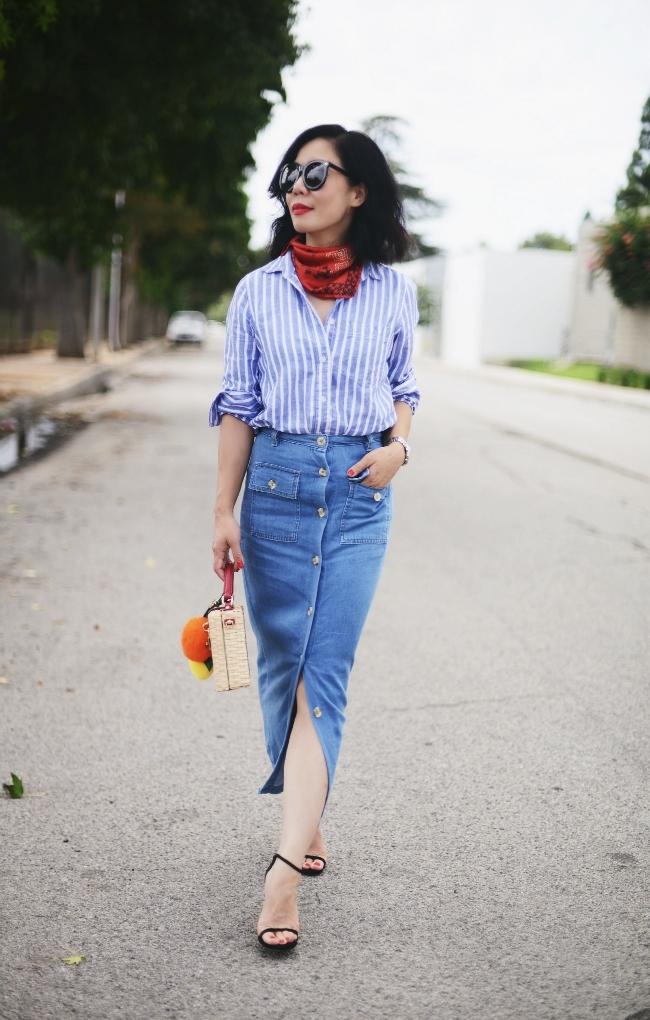 модные тенденции весна лето 2019: юбка-карандаш из денима