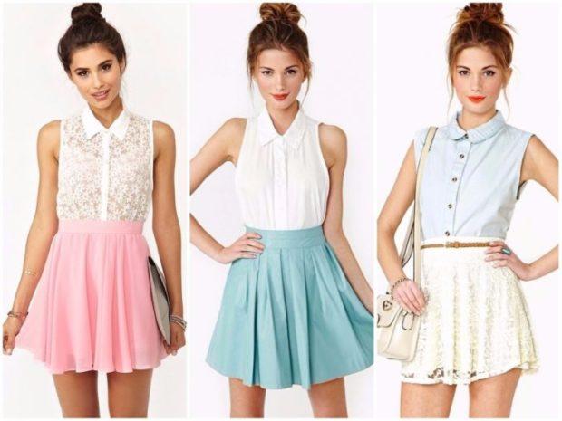 модные тенденции весна лето 2019: короткие легкие юбки розовая голубая белая
