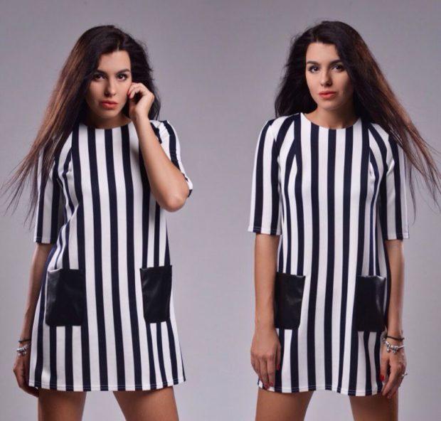 модные тенденции весна лето 2019: платье в полоску черно-белое