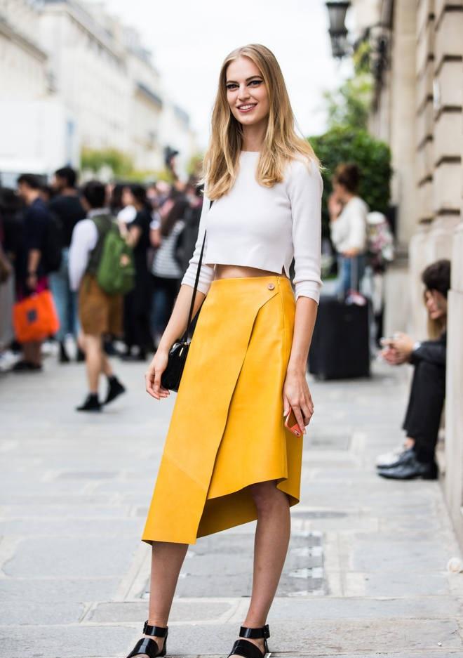 кожаная юбка желтая асимметрия