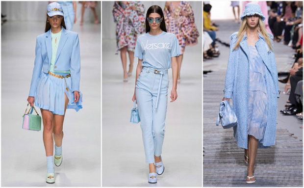 модные тенденции весна лето 2019: нежно-голубая мода