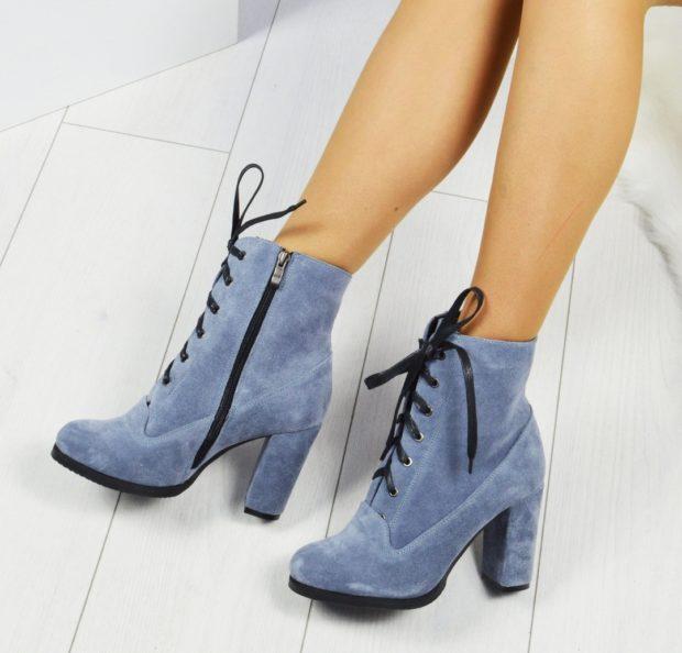 ботильоны серо-синие на шнурке