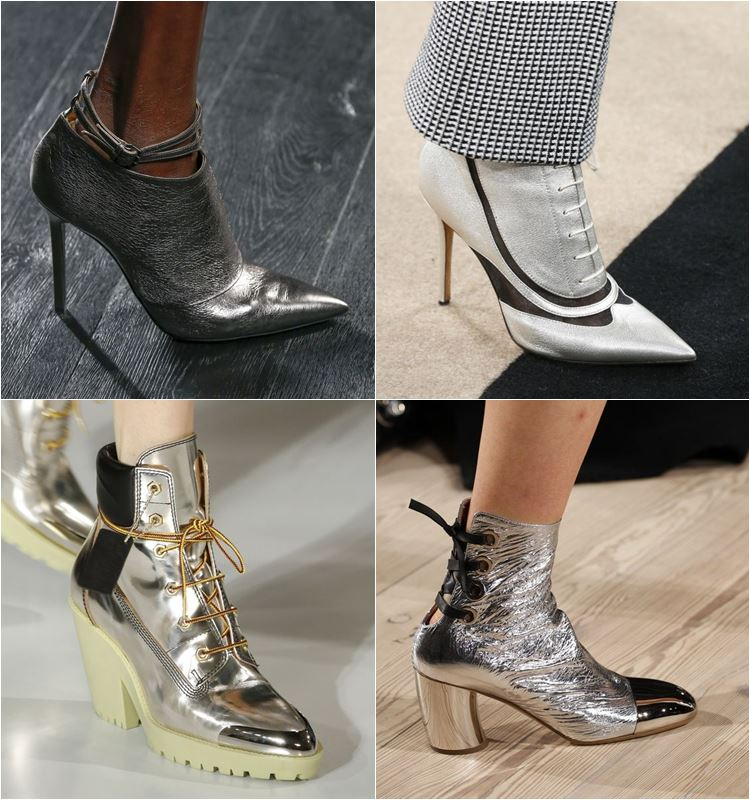 обувь с эффектом метал