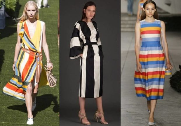 модные тенденции весна лето 2019: полосатое платье яркое черно-белое в полоску сарафан в горизонтальную полоску