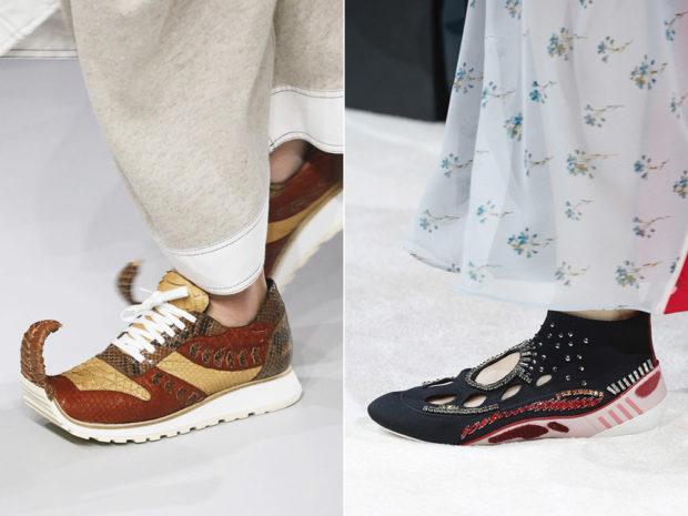 модные тенденции весна лето 2019: коричневые кроссовки замшевые с узором