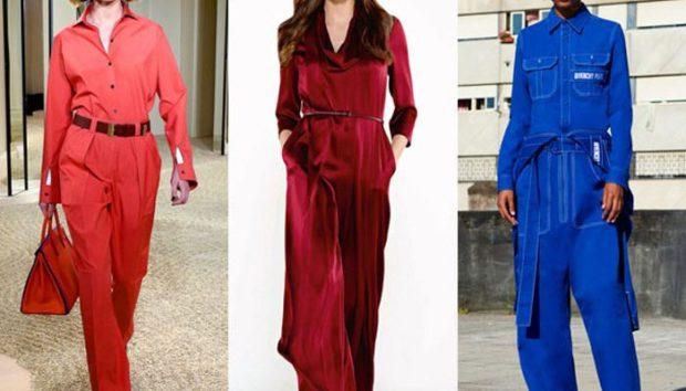 модные тенденции весна лето 2019: комбинезоны красный бордовый синий