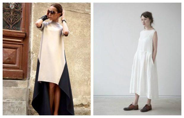 модные тенденции весна лето 2019: платья оверсайз асимметрия