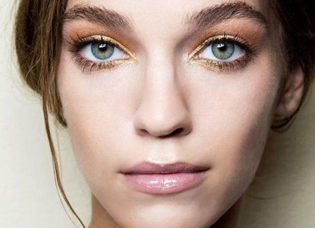 натуральный макияж тени золотые
