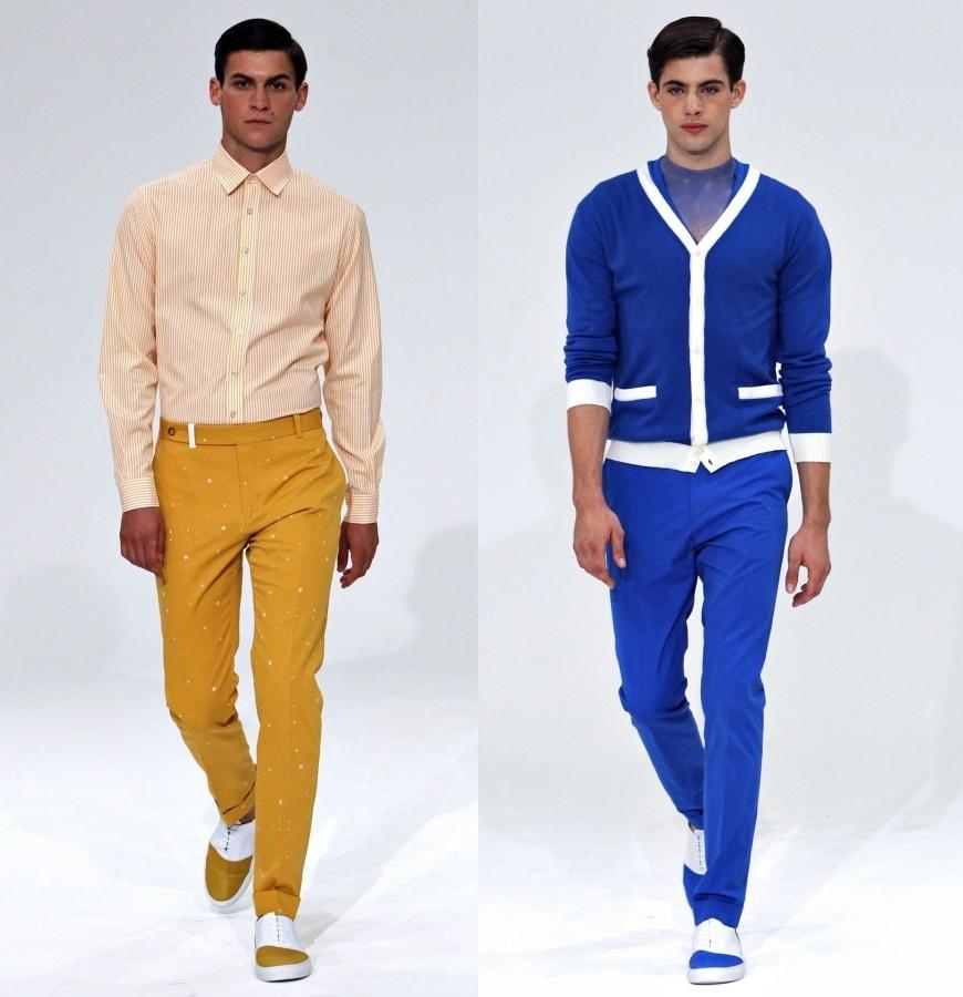 мужская мода весна 2019: горчичные брюки под полосатую рубашку синие брюки под кофту