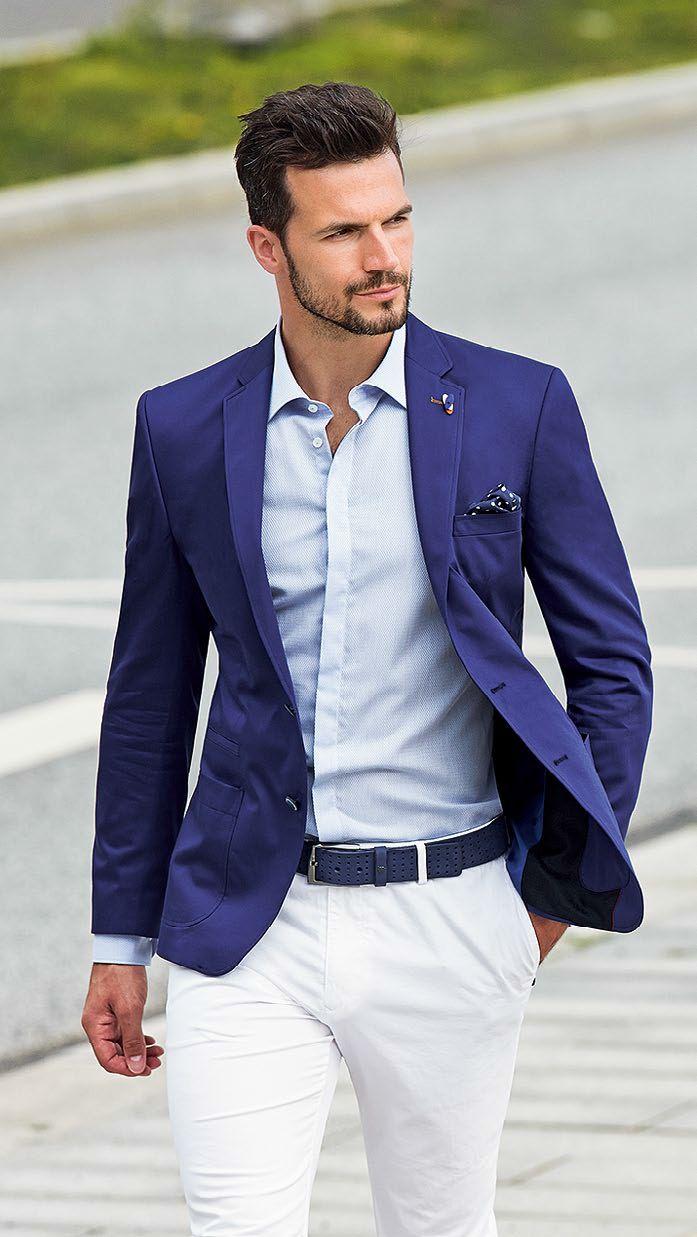 синий пиджак под белые брюки
