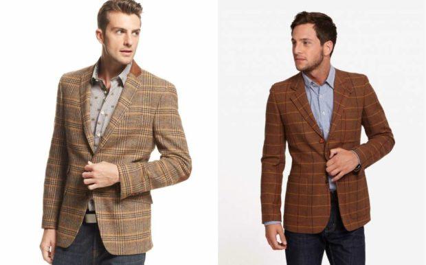 мужская мода весна 2019: коричневые пиджаки в клетку