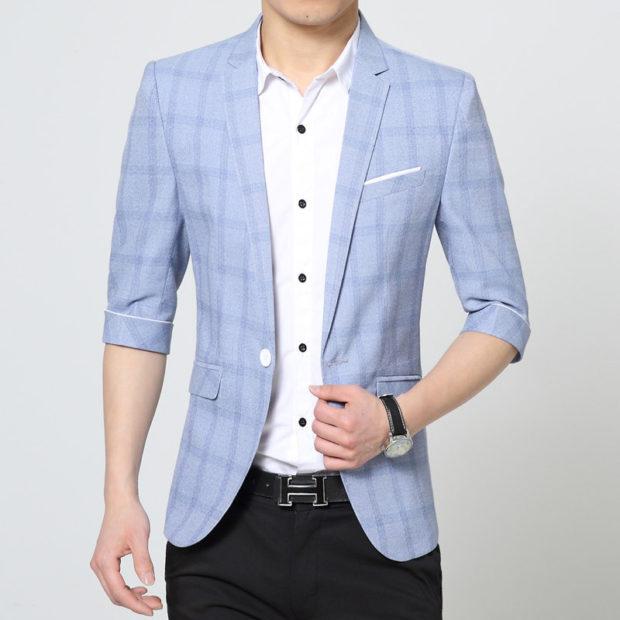 мужская мода 2019 весна лето: голубой пиджак в клетку с коротким рукавом