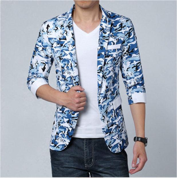 мужская мода 2019 весна лето: пиджак с коротким рукавом голубой с белым в разводы