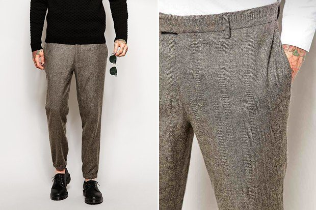 мужская мода 2019 весна лето: серые зауженные брюки