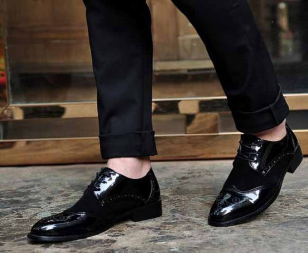 мужская мода 2019 весна лето: лаковые туфли с круглым носком