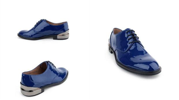 синие лаковые туфли с черной подошвой