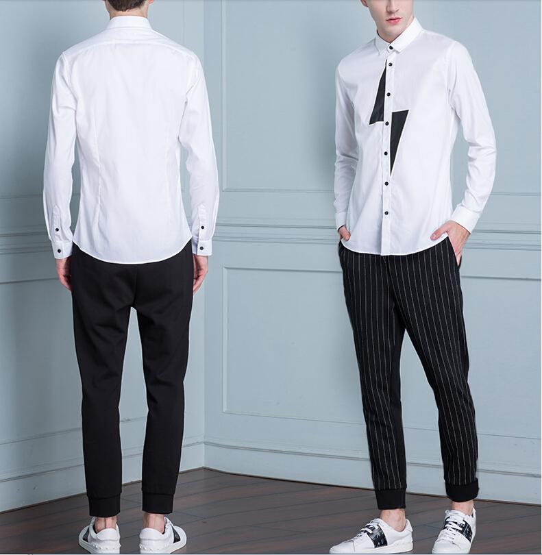 мужская мода 2019 весна лето: белая рубашка под черные короткие брюки в полоску
