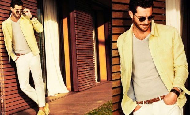 мужская мода 2019 весна лето: желтый пиджак под светлые брюки