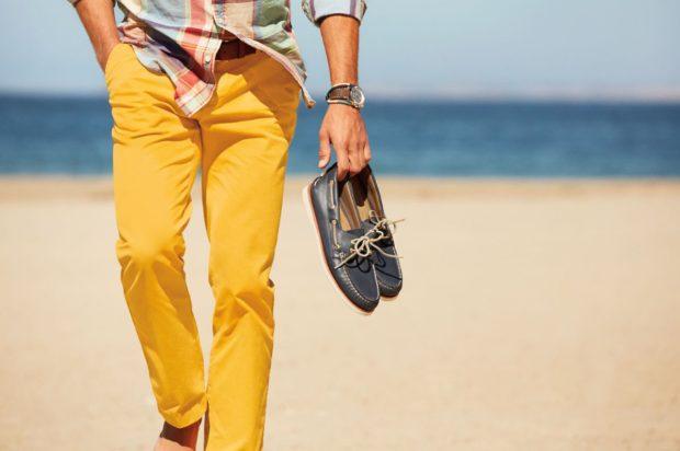 мужская мода 2019 весна лето: желтые штаны под рубашку в клетку