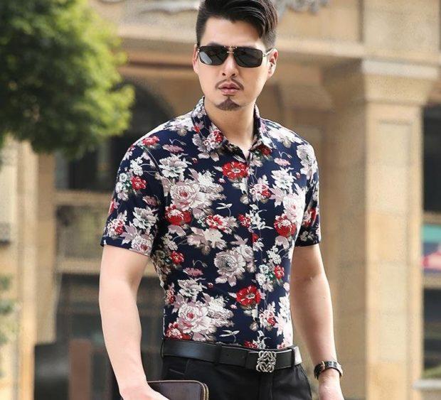 мужская мода 2019 весна лето: рубашка в цветы