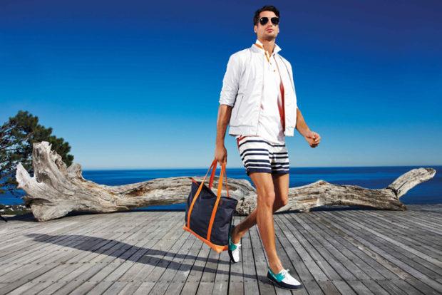 мужская мода 2019 весна лето: полосатые шорты под белую курточку