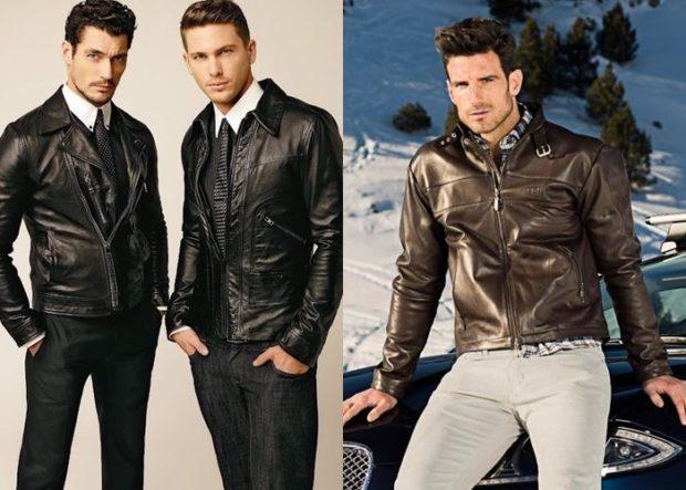 черные кожаные куртки коричневая