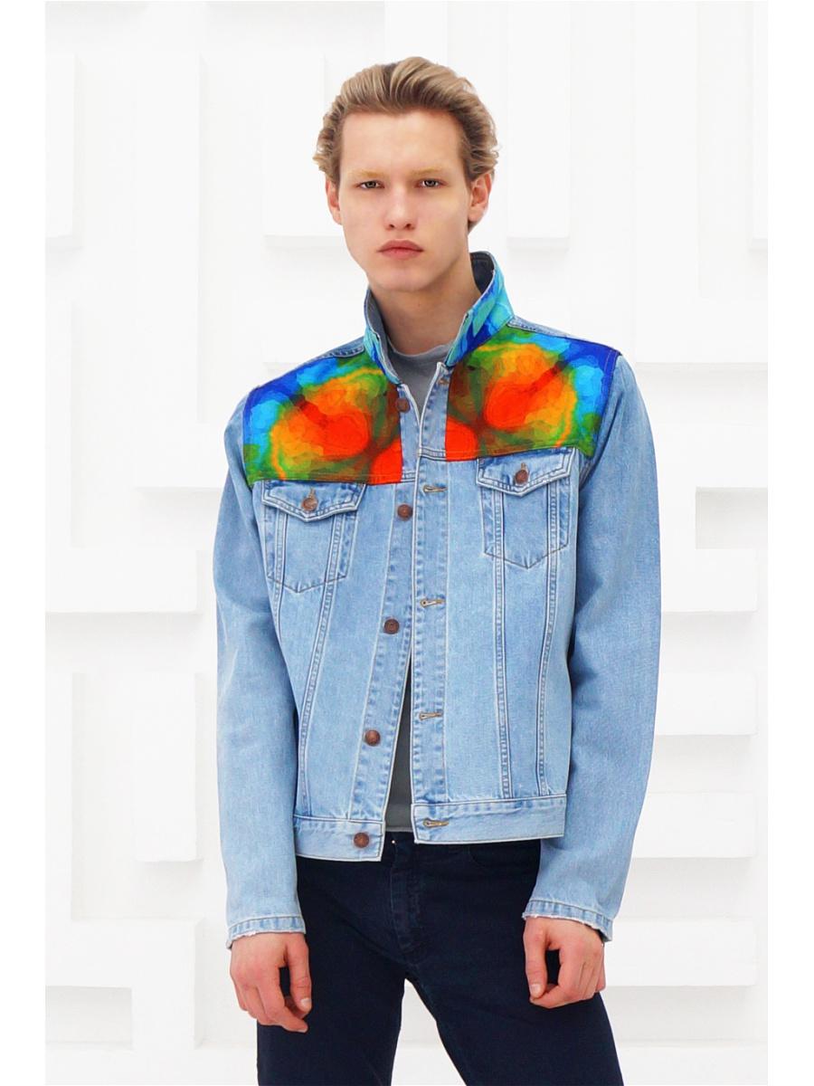 мужская мода весна 2019 основные тенденции: голубая куртка джинсовая с цветными вставками