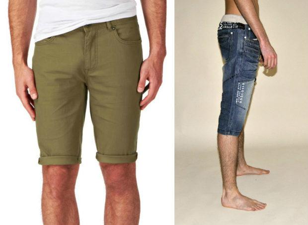 зеленые шорты шорты из денима ниже колена