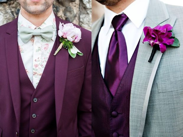 свадьба цвет марсала жених: костюм бутоньерка