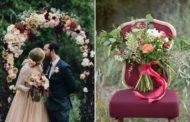 Свадьба в цвете марсала: оформление зала, букет невесты