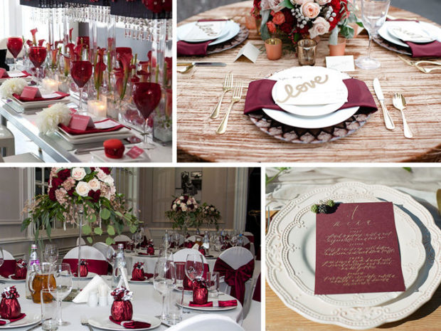 оформление свадьбы в цвете марсала: столы