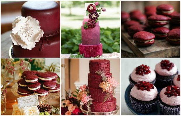 оформление свадьбы в цвете марсала: кондитерка