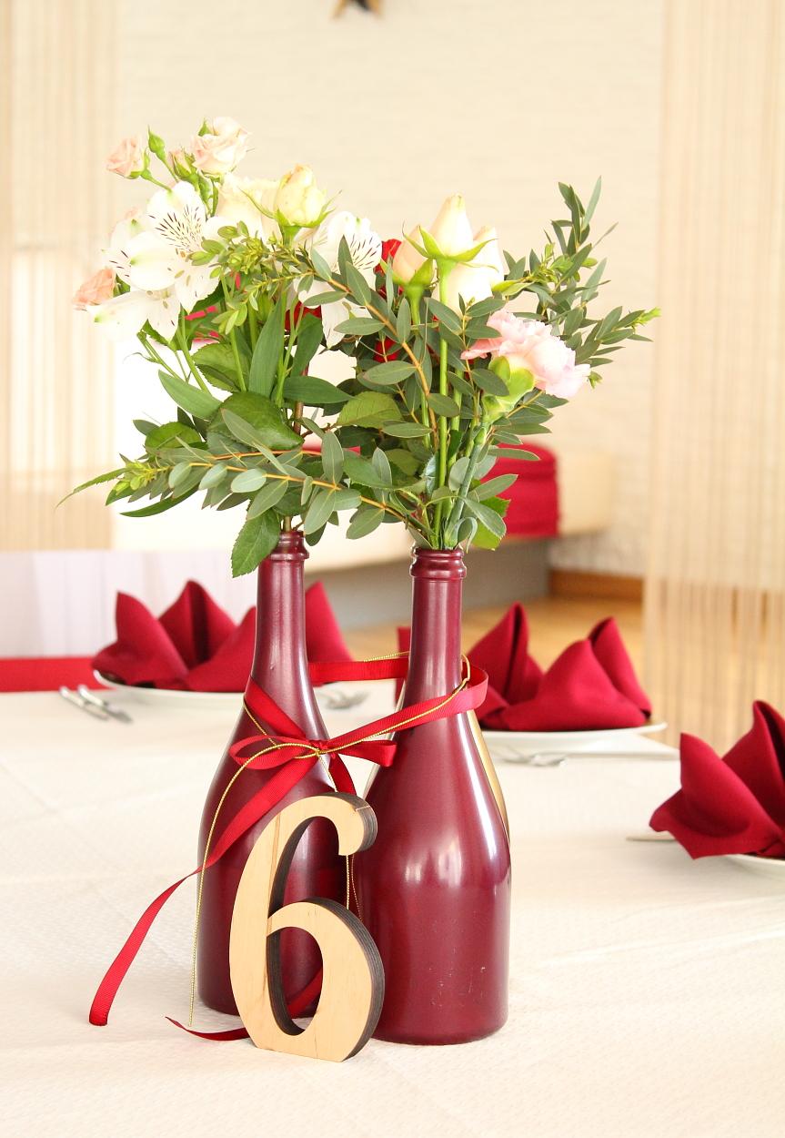 украшение свадьбы цвета марсала: декор