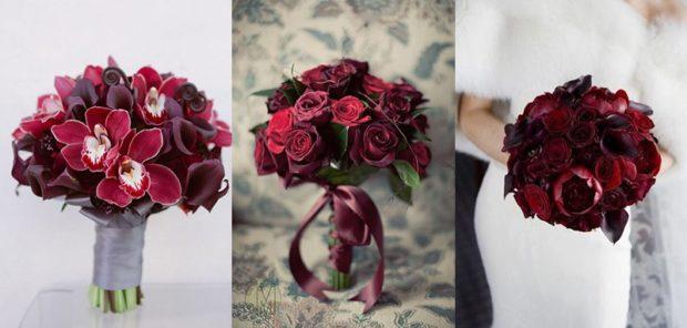 свадьба в цвете марсала: букеты