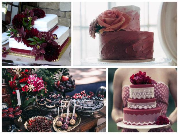 торт на свадьбу цвет марсала