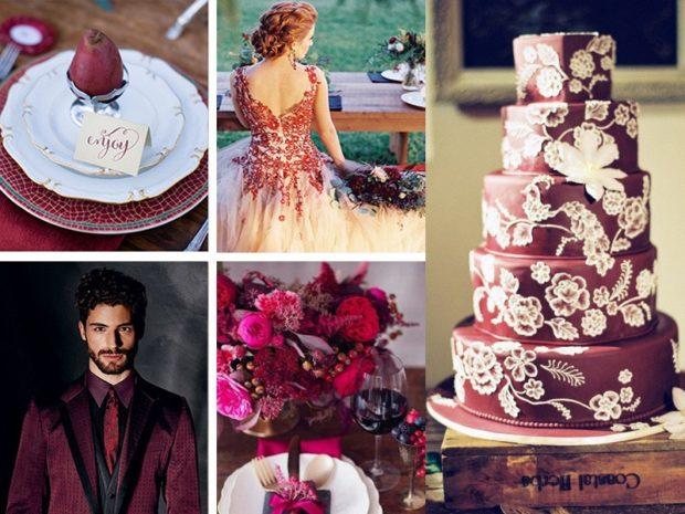 торт на свадьбу цвет марсала: с белыми цветами