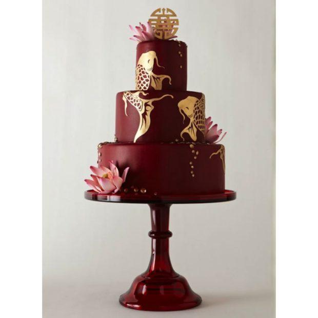 торт на свадьбу цвет марсала: с золотом