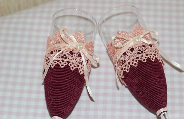 бокалы на свадьбу цвет марсала: с бежевым