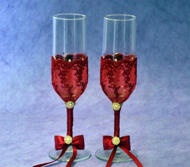 бокалы на свадьбу цвет марсала: с бантиком