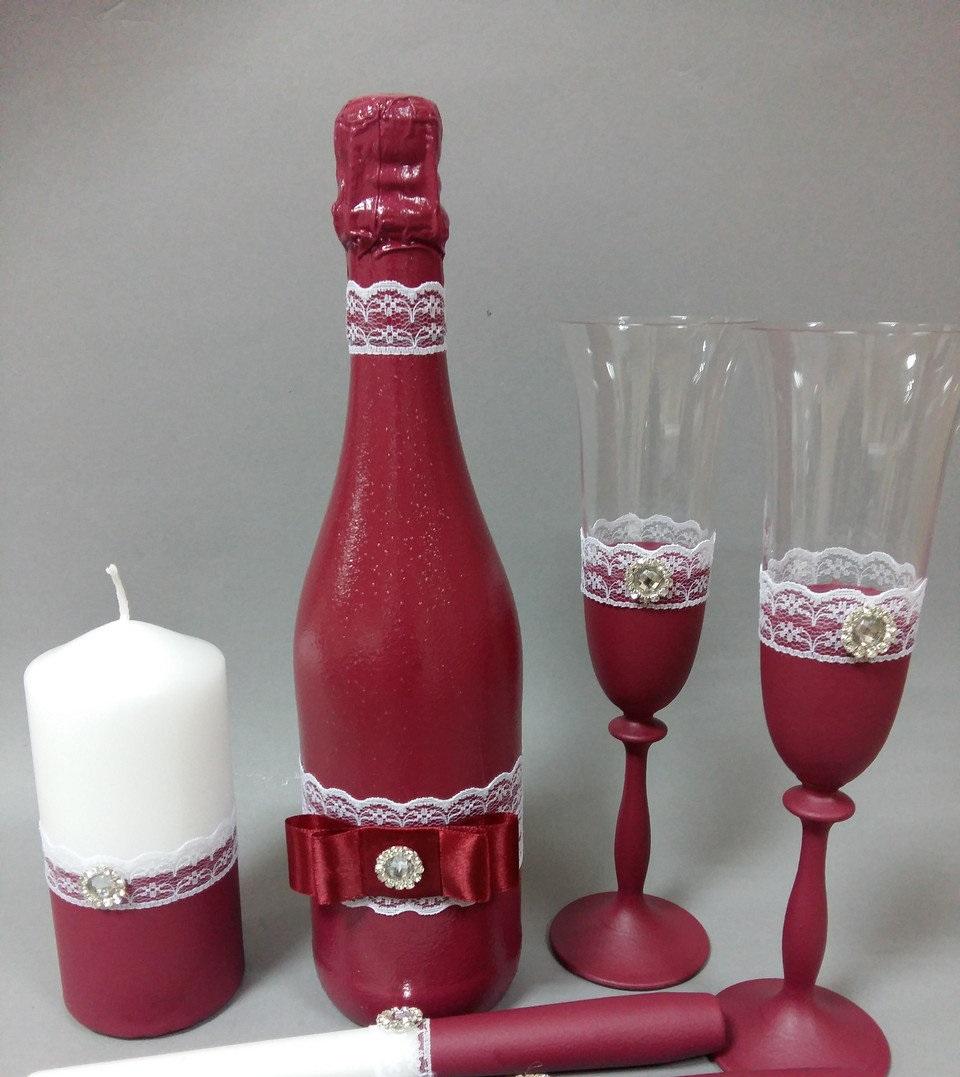 бокалы на свадьбу цвет марсала: бутылка
