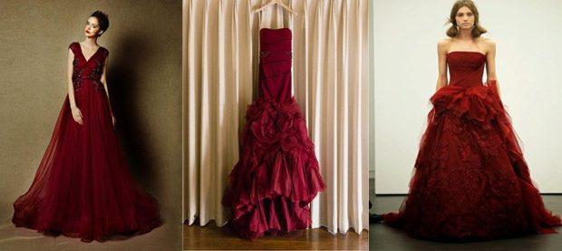 свадьба в цвете марсала образ невесты: платья
