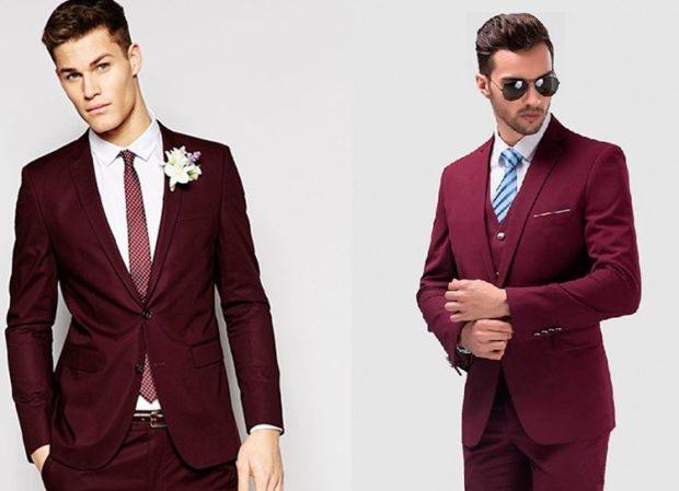 свадьба цвет марсала жених: мужские костюмы