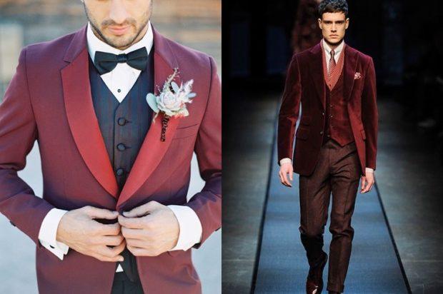 свадьба цвет марсала жених: мужской костюм