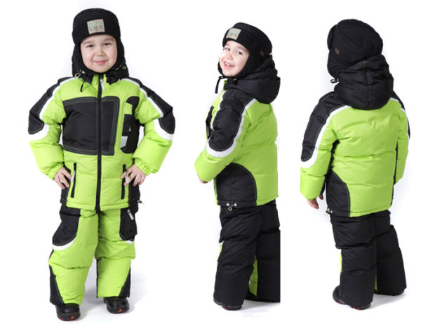 детская мода зима 2018: костюм салатовый с черным теплый