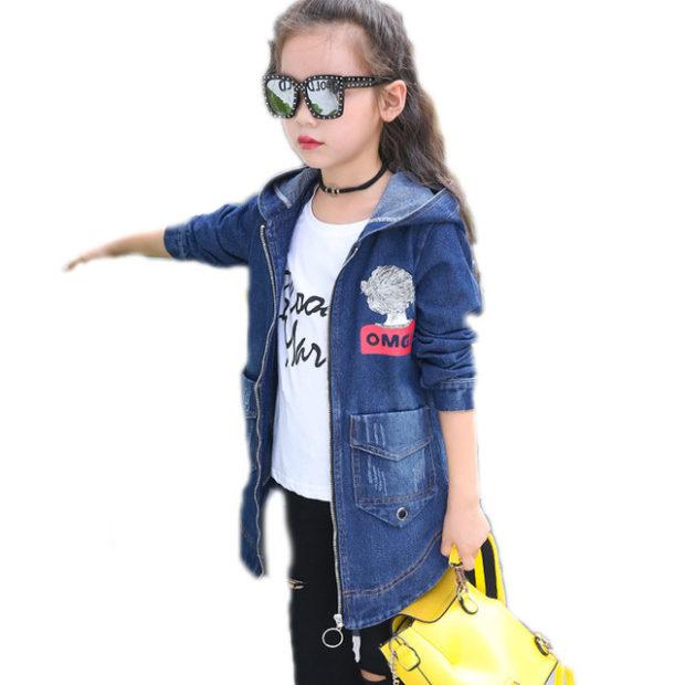 детская мода 2018 для девочек: джинсовая куртка удлиненная